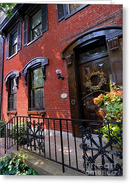 Wreath Greeting Cards - Victorian Home in Pittsburghs Mexican War Streets Greeting Card by Amy Cicconi