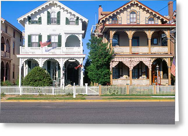 Main Street Greeting Cards - Victorian Homes In Cape May, New Jersey Greeting Card by Panoramic Images