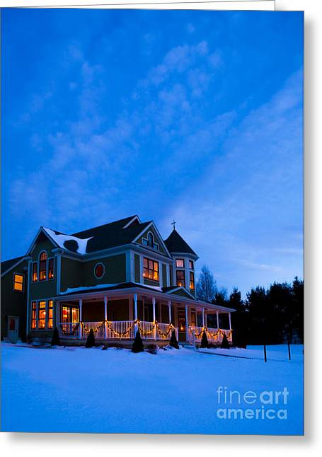 Christmas Lights Greeting Cards - Victorian House at Christmastime Greeting Card by Diane Diederich