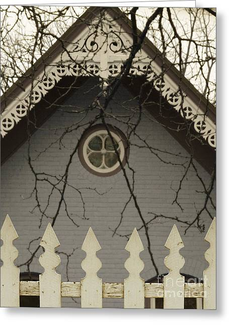Clapboard House Greeting Cards - Victorian House Behind IPicket Fence Greeting Card by Jill Battaglia