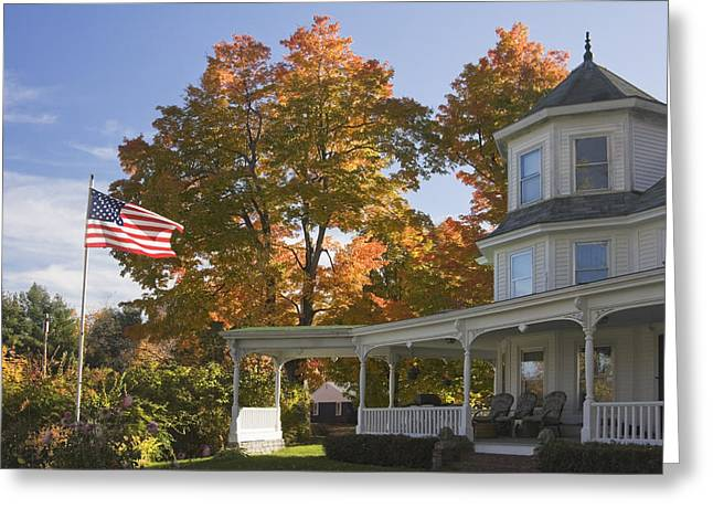 Old Maine Houses Greeting Cards - Victorian House with American Flag Greeting Card by Keith Webber Jr