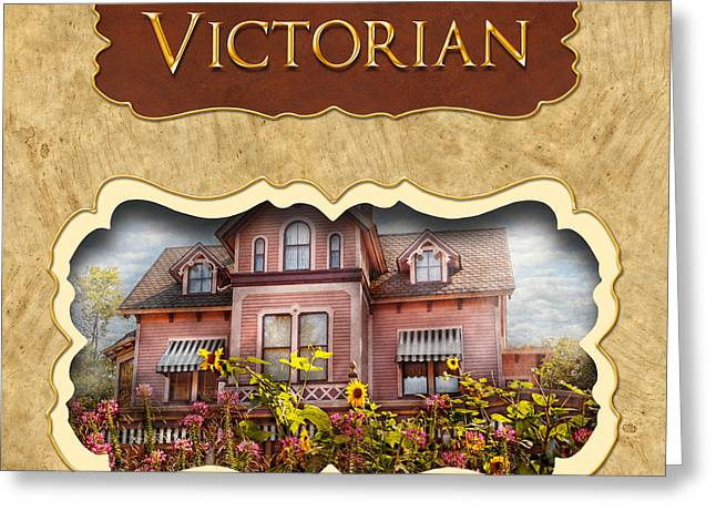 Victorian Home Greeting Cards - Victorian Houses button Greeting Card by Mike Savad