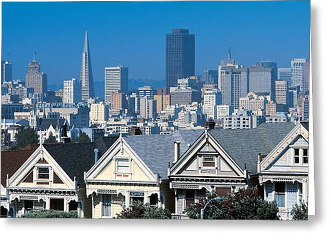 Visitors Greeting Cards - Victorian Houses Steiner Street San Greeting Card by Panoramic Images