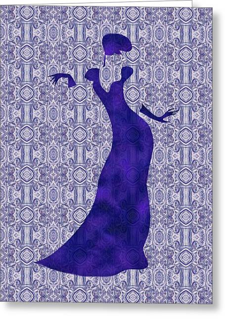 Evening Wear Paintings Greeting Cards - Victorian Lady in Blue Greeting Card by Barbara St Jean