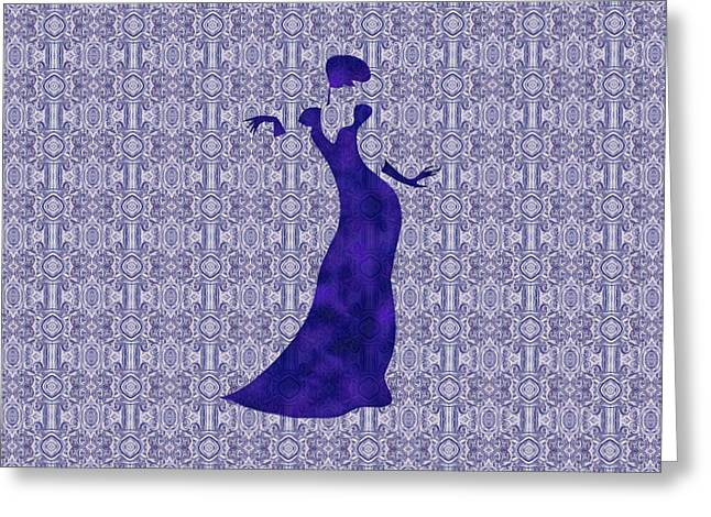 Evening Wear Paintings Greeting Cards - Victorian Lady in Blue for Duvet Greeting Card by Barbara St Jean