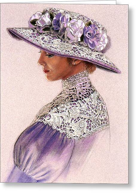 Sue Greeting Cards - Victorian Lady in Lavender Lace Greeting Card by Sue Halstenberg