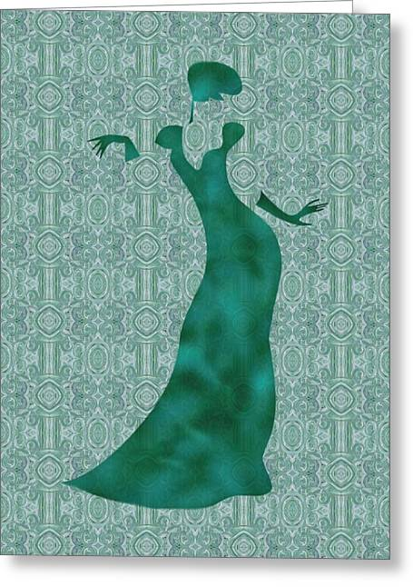 Evening Wear Paintings Greeting Cards - Victorian Lady in Mint Greeting Card by Barbara St Jean