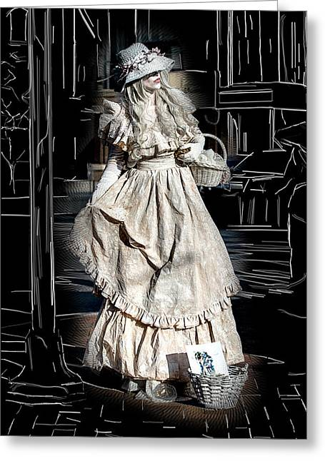 Victorian Lady Greeting Card by John Haldane