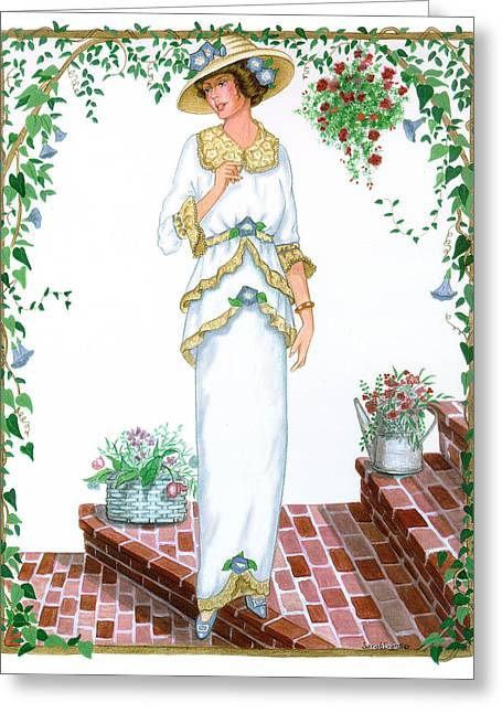 Collectible Mixed Media Greeting Cards - Victorian lady on brick steps Greeting Card by Sally  Evans