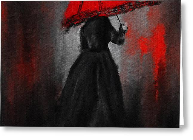 Victorian Lady With Parasol Greeting Card by Lourry Legarde