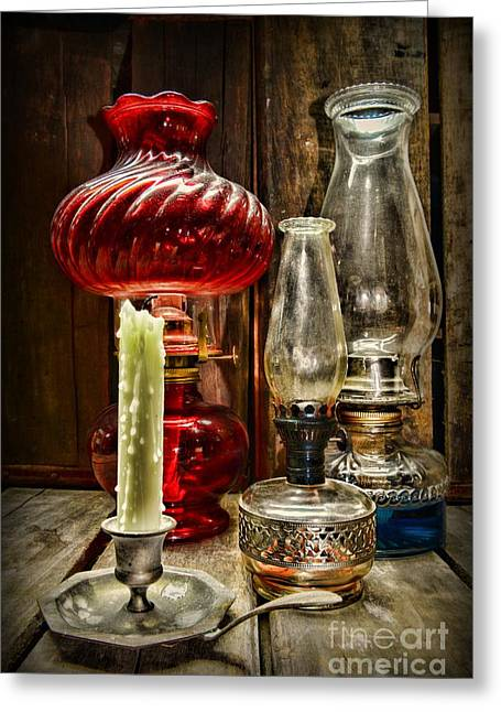 Kerosene Lamp Greeting Cards - Victorian Lamps Greeting Card by Paul Ward
