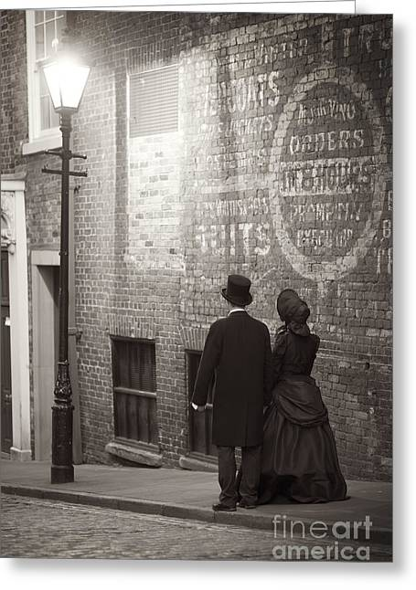 Husband Waiting Greeting Cards - Victorian Man And Woman By Street Light Greeting Card by Lee Avison