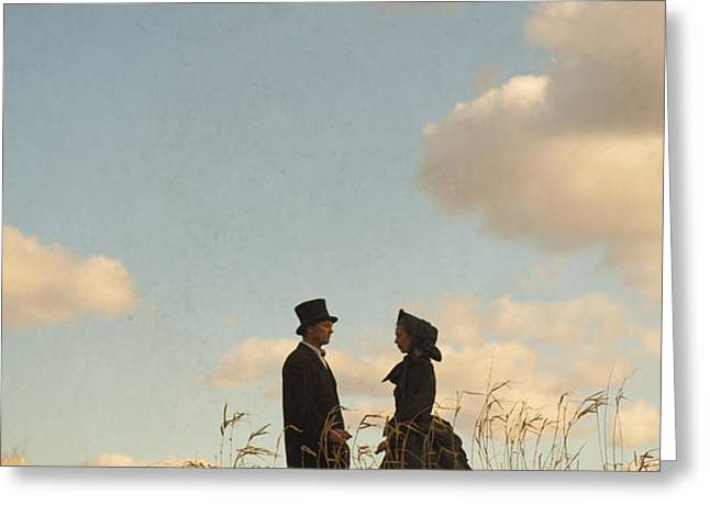 victorian man and woman Greeting Card by Lee Avison