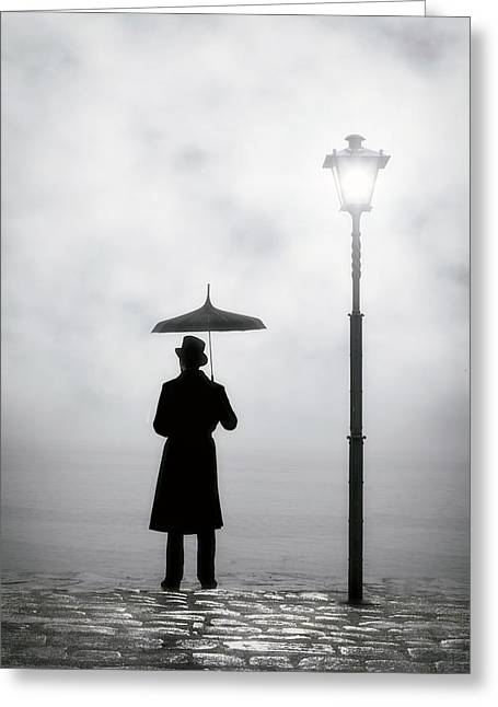Umbrella Greeting Cards - Victorian Man Greeting Card by Joana Kruse