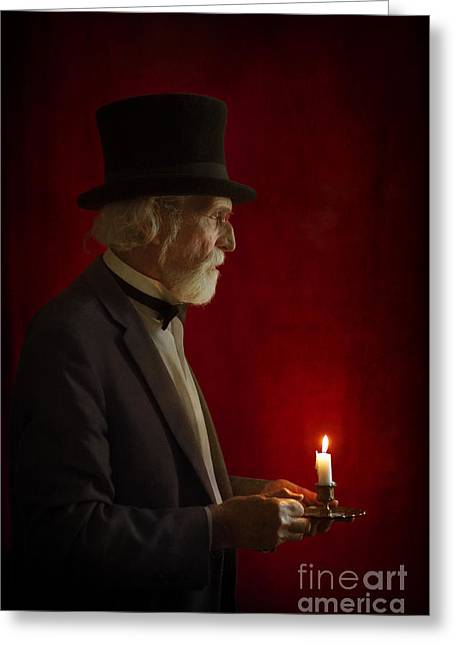 Black Top Greeting Cards - Victorian Man With Top Hat By Candle Light Greeting Card by Lee Avison