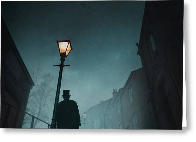 victorian man with top hat leaning on a street light Greeting Card by Lee Avison