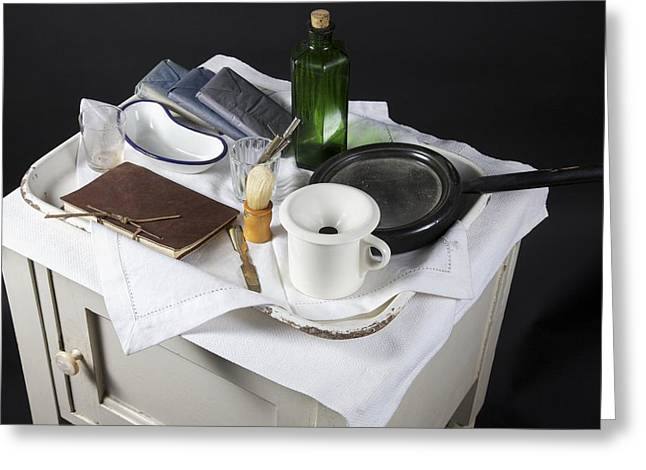 Bedside Table Greeting Cards - Victorian medical equipment Greeting Card by Science Photo Library