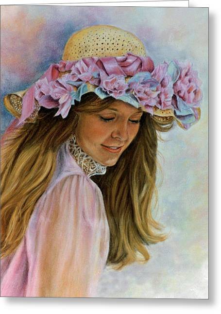 Young Lady Pastels Greeting Cards - Victorian Memories Greeting Card by Ann Peck