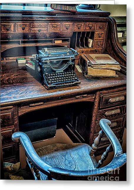 Typewriter Greeting Cards - Victorian Office Greeting Card by Adrian Evans