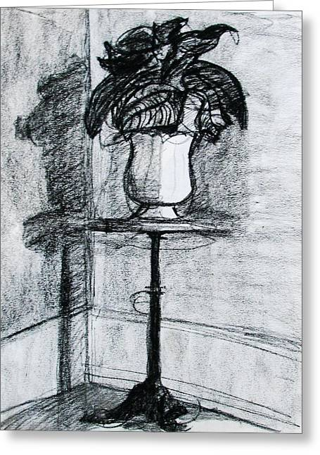 Potted Plants Drawings Greeting Cards - Victorian Plant Stand Greeting Card by Anita Dale Livaditis
