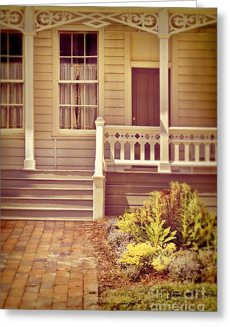 Clapboard House Greeting Cards - Victorian Porch Greeting Card by Jill Battaglia