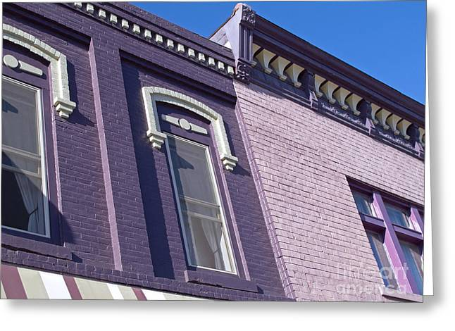 Purple Awnings Greeting Cards - Victorian Purple Greeting Card by Ann Horn