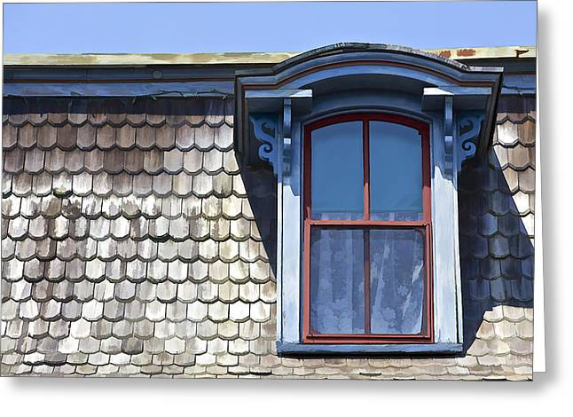 Blue Glass World Greeting Cards - Victorian Red Wood Window II Greeting Card by David Letts