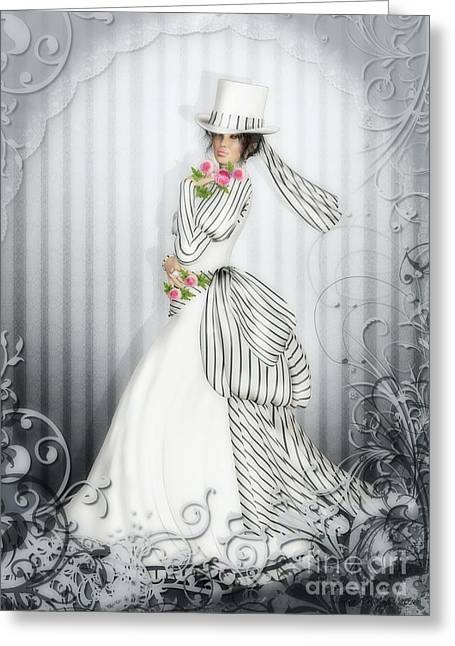 Vintage Beauty Greeting Cards - Victorian Rose Greeting Card by Shanina Conway