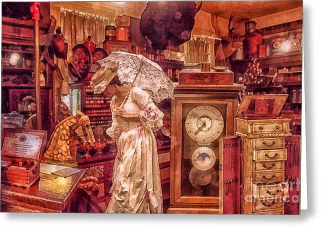 Wall Table Greeting Cards - Victorian Shop Greeting Card by Mo T