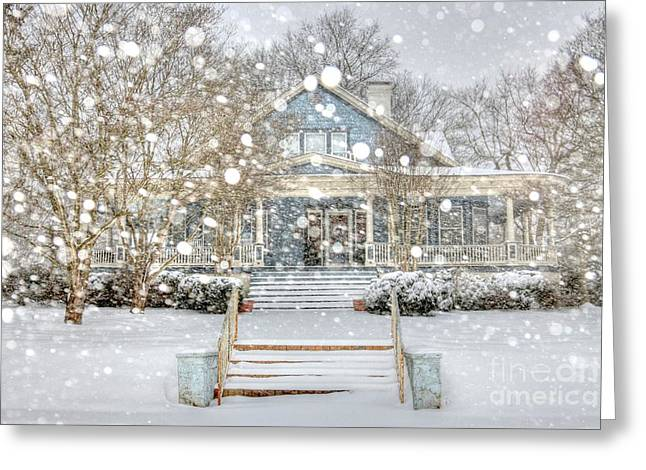 Historic Architecture Greeting Cards - Victorian Snow Fall Greeting Card by Benanne Stiens