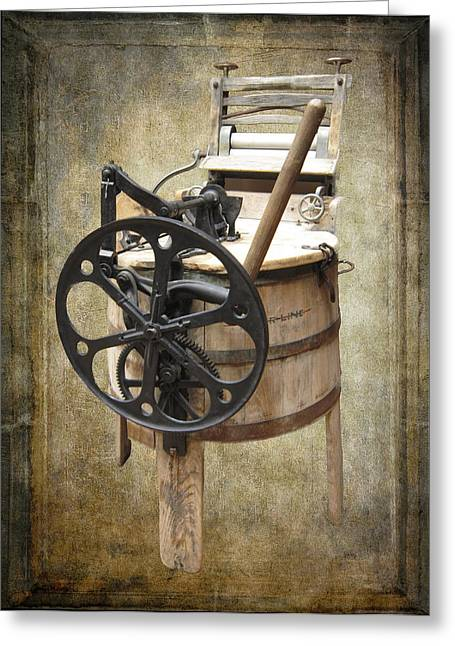 Washing Machine Greeting Cards - Victorian Wash Machine Greeting Card by Daniel Hagerman