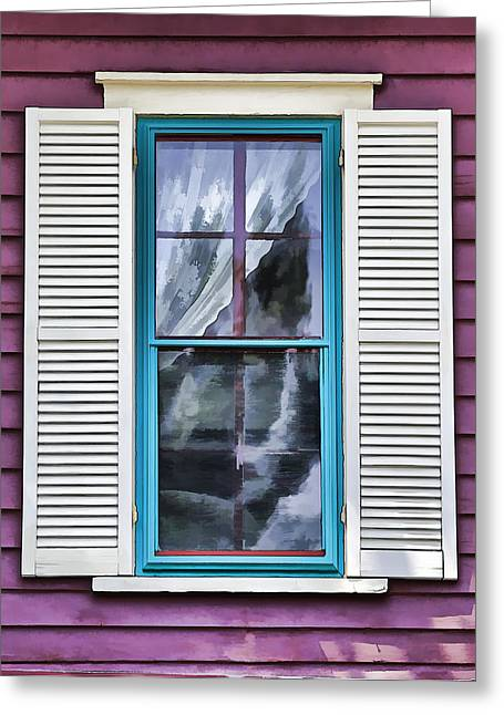Green Ocean Glass Greeting Cards - Victorian Window of Cape May Greeting Card by David Letts