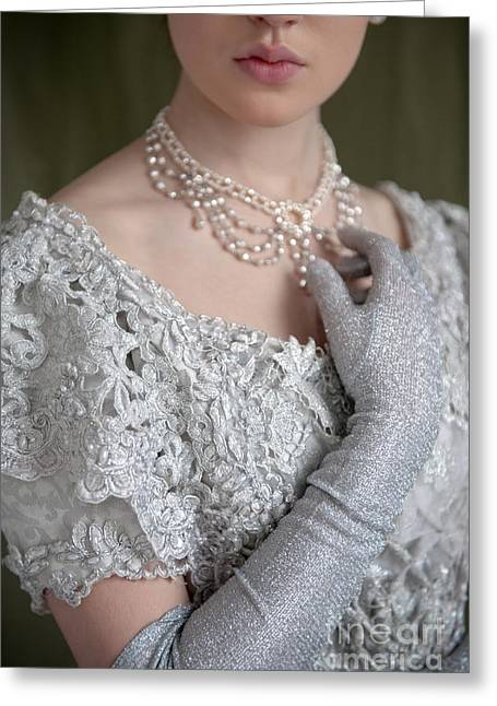 Glittery Jewelry Greeting Cards - Victorian Woman Detail Greeting Card by Lee Avison