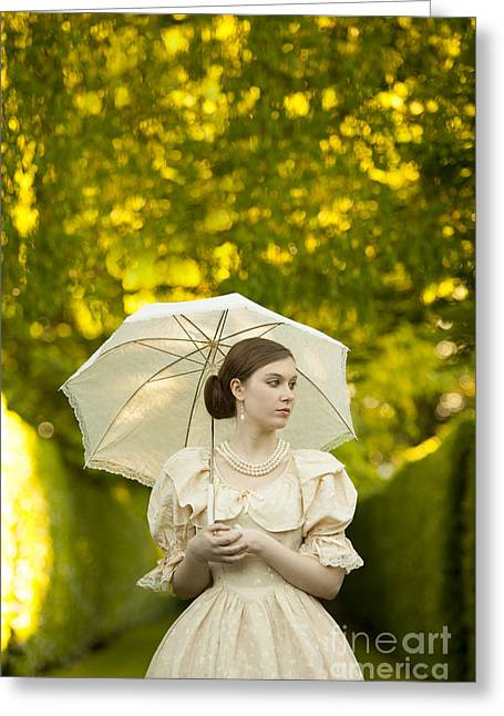 Dappled Light Greeting Cards - Victorian Woman Holding A Parasol In A Summer Garden Greeting Card by Lee Avison
