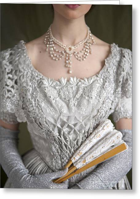 Glittery Jewelry Greeting Cards - Victorian Woman In A Grey Ballgown Greeting Card by Lee Avison