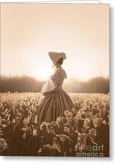 Woman In Summer Meadow Greeting Cards - Victorian Woman In A Meadow Greeting Card by Lee Avison