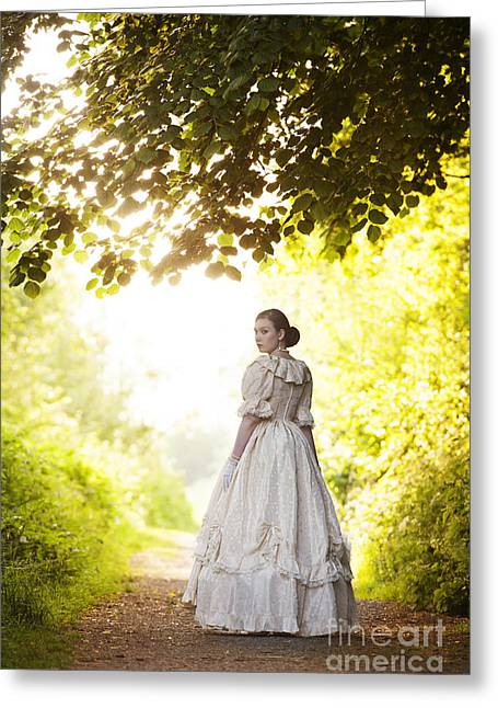 Dappled Light Greeting Cards - Victorian Woman On A Woodland Path Greeting Card by Lee Avison