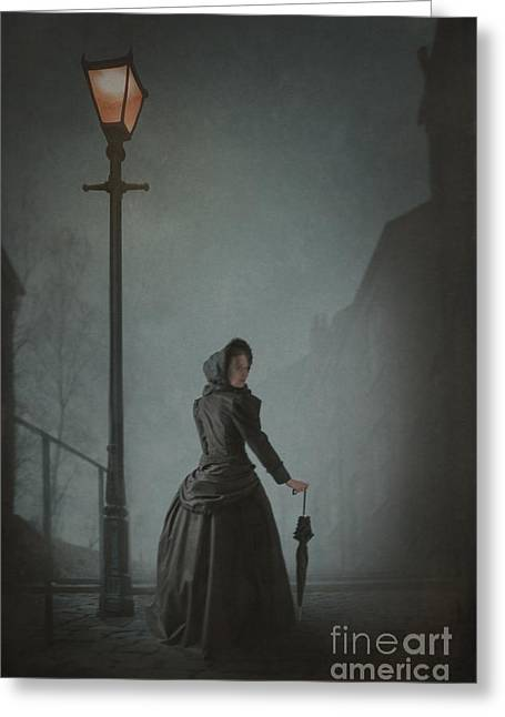 Recently Sold -  - Streetlight Greeting Cards - Victorian Woman Under Streetlamp In Fog Greeting Card by Lee Avison