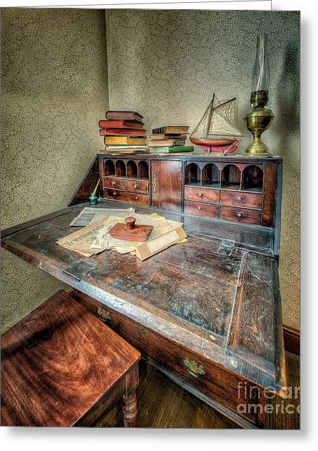 Victorian Writing Bureau Greeting Card by Adrian Evans