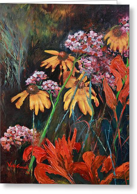 Day Lilly Paintings Greeting Cards - Victorias Gardens Greeting Card by Vicki Gierach