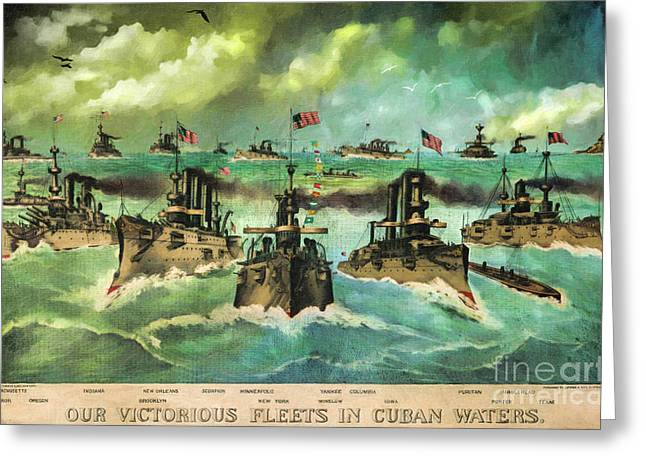 Santiago Cuba Greeting Cards - Victorious Navy - 1898 Greeting Card by Lianne Schneider
