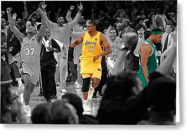 Lakers Mixed Media Greeting Cards - Victory and Defeat Greeting Card by Brian Reaves