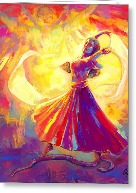 Christian work Paintings Greeting Cards - Victory Dance Greeting Card by Tamer and Cindy Elsharouni