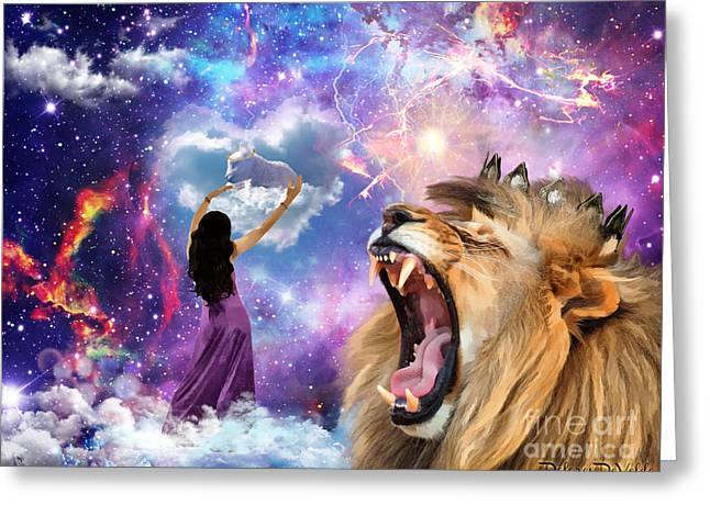 Lion Lamb Greeting Cards - Victory Greeting Card by Dolores Develde