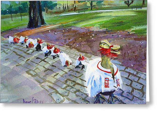Red Sox Paintings Greeting Cards - Victory Ducks Greeting Card by Diane Bell
