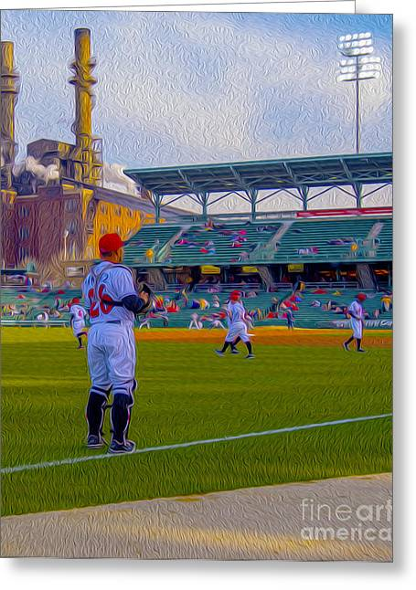 Indy Indians Greeting Cards - Victory Field Catcher 1 Greeting Card by David Haskett