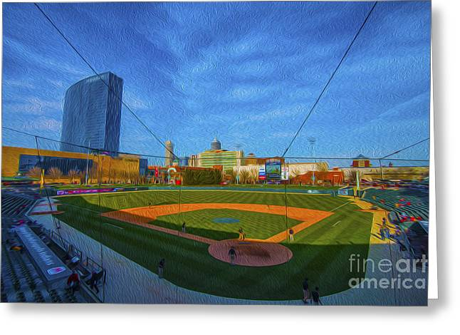 Indy Indians Greeting Cards - Victory Field Home Plate Greeting Card by David Haskett