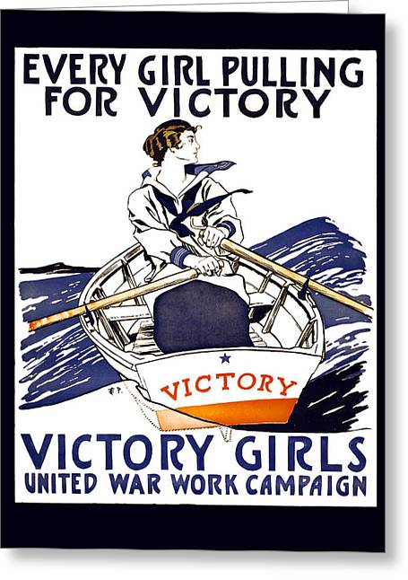 """women In War"" Greeting Cards - VICTORY GIRLS of W W 1     1918 Greeting Card by Daniel Hagerman"