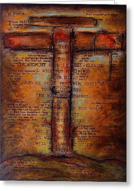 Redemption Mixed Media Greeting Cards - Victory Greeting Card by Kitt Mallin