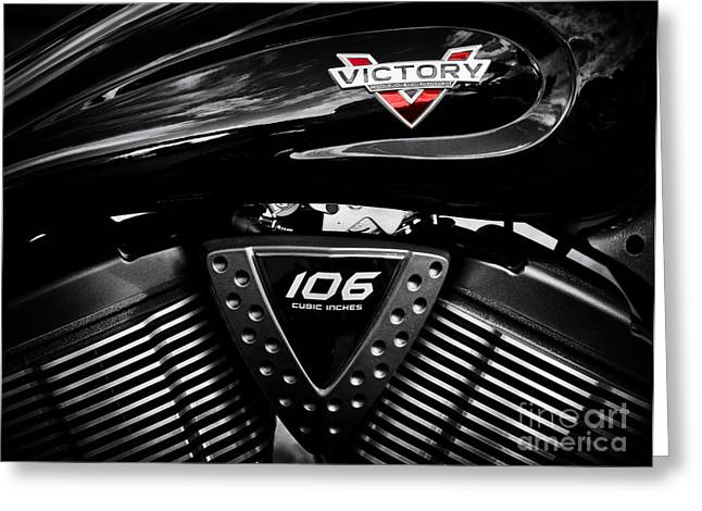 V Twin Greeting Cards - Victory Monochrome Greeting Card by Tim Gainey